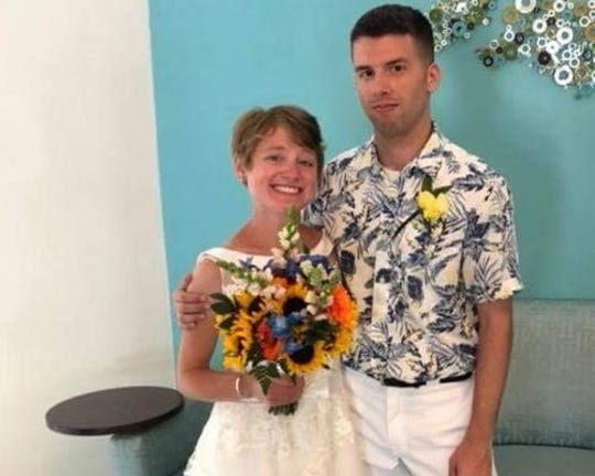 Jessica Joy Dees-Feuerstein and her husband, Dustin Dees