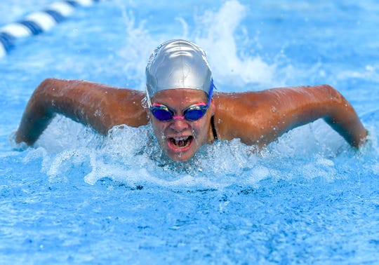 Jensen Beach sophomore Emily Miller competes in the girl's 200 meter individual medley Thursday, Sep. 6, 2018, during her team's high school swimming match against Fort Pierce Central and South Fork at Sailfish Splash Waterpark in Stuart. To see more photos, go to TCPalm.com.