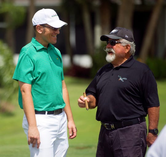James Muir (left) shares a laugh with Pointe West resident and club member Jim Kuriger on Thursday, Sept. 6, 2018 during a golf clinic Muir and business partner Patrick Cerjan hold on a weekly basis. Muir was the head golf professional at Pointe West until he was diagnosed with a malignant peripheral nerve sheath tumor in May of 2016.