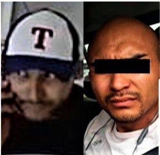 "A security camera image and photo of Juárez extortion suspect Ezequiel M.M., alias ""El Joker."""