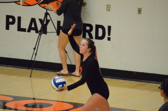Kirra Drury, shown serving during the 2014 season, was an outside hitter for the Ventura College women's volleyball team in the 2013 and 2014 seasons. The St. Bonaventure High graduate was killed in a boat crash on the Colorado River on Sept. 1.