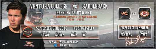 Former Ventura College linebacker Brenden Daley graces the tickets to Saturday's season opener. Daley, who died suddenly last November, will have his No. 27 retired in a pregame ceremony.