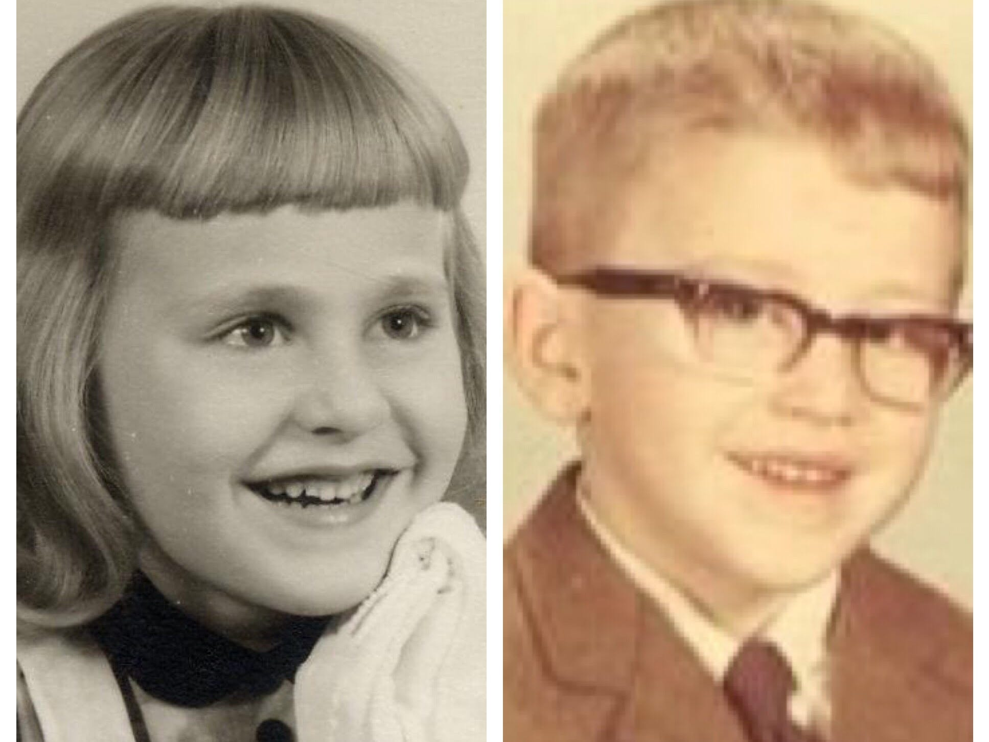 A DNA home test told Katherine Hamilton and Kris Kaufmann, here shown as kids, they are siblings.