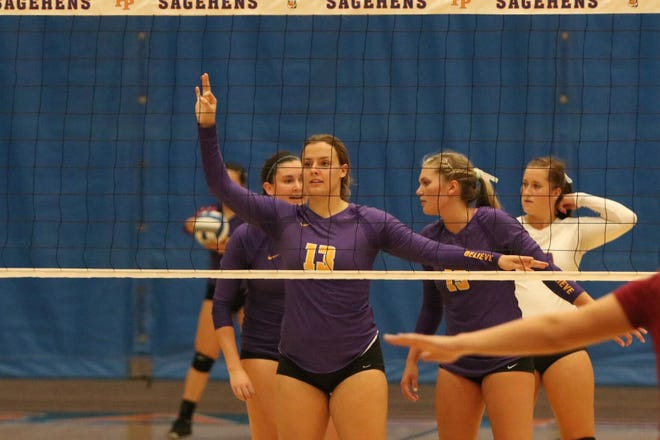 Senior middle blocker Paris Dosch (13), who played at Ventura High and Ventura College, helped the Cal Lutheran women's volleyball team get off to a 4-0 start last weekend in the Pacific Coast Classic.