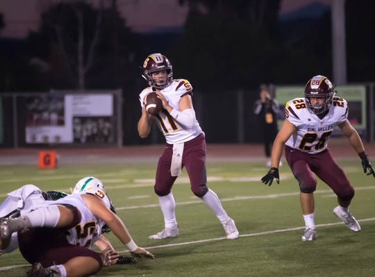 Simi Valley quarterback Jack Applegate gets ready to throw a pass during the Pioneers' win over Thousand Oaks on Aug. 31.