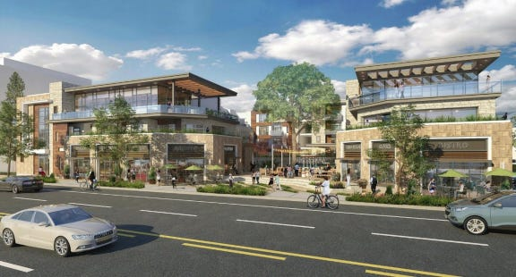 Artist's conception of a planned mixed-used development at 299 East Thousand Oaks Blvd., which the Thousand Oaks City Council green-lighted at its Aug. 28 meeting.