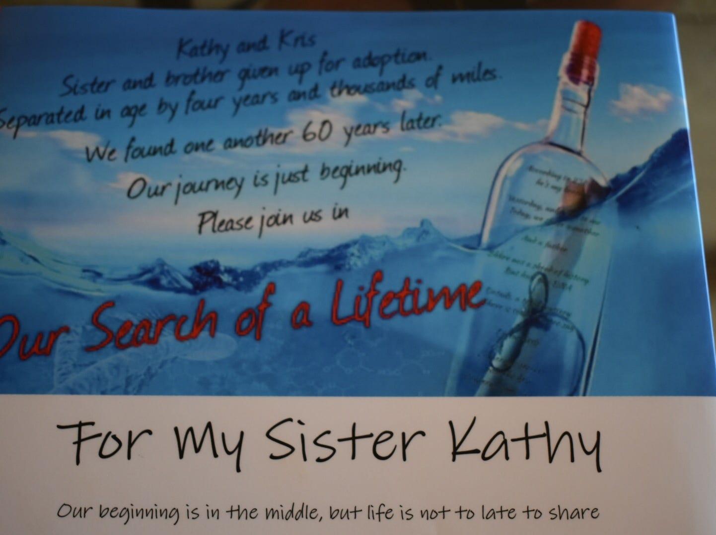 Kris Kaufmann presented this book to Katherine Hamilton, the sister he found through a DNA test.
