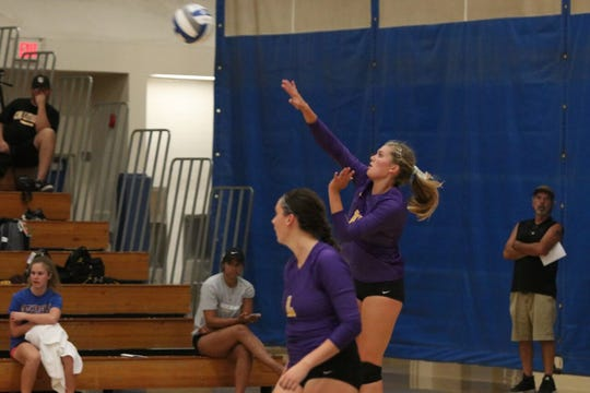 Junior right side Amy McKee serves for the Cal Lutheran University women's volleyball team during the Pacific Coast Classic last weekend in Claremont.