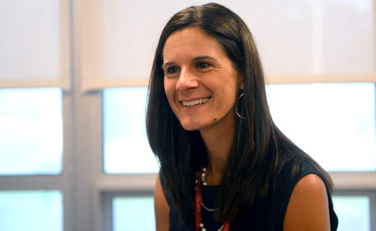 Vineland High School Principal Suzette DeMarchi marks the first day of the new school year on Thursday, September 6.