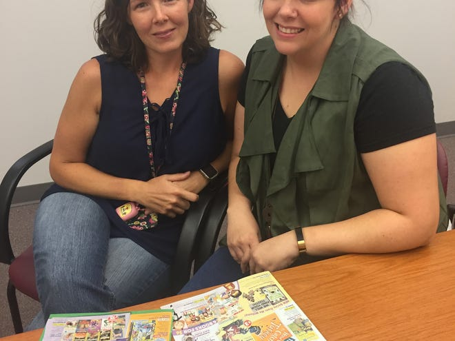 Fairfield Township School teachers Jenn Pokrovsky (left) and Jackie Conahey are seeking sponsors for a literary project to get their students free books.