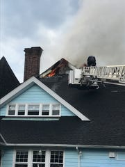 Yonkers firefighters are battling a two-alarm fire.