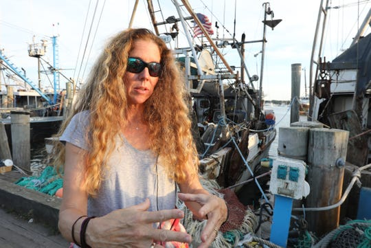 Bonnie Brady, director of the Long Island Commercial Fishing Association, offers comments on the proposed wind farm off the coast of eastern Long Island. Montauk on Tuesday, September 4, 2018.