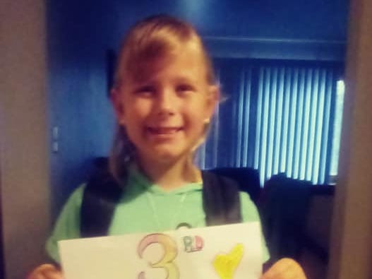 Jada Stroyny on her first day of third grade at Franklin Elementary School in Wausau. Her mother is Jenni Stroyny of Wausau.