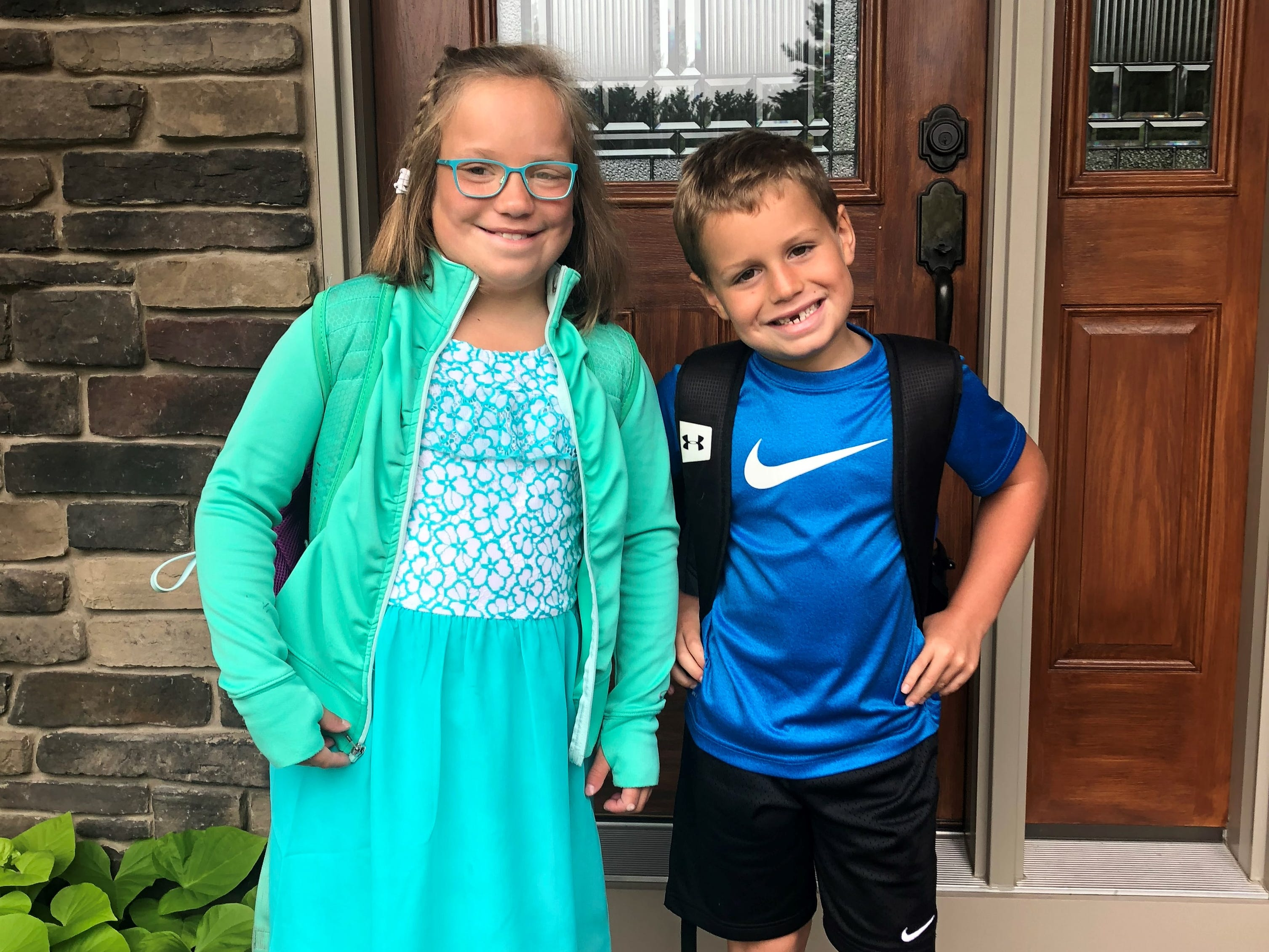 Rease Goodenough on her first day of third grade and Bentley Goodenough on his first day of first grade at Grant Elementary School in Kellner. Their parents are Jim and Amy Goodenough of Wisconsin Rapids.