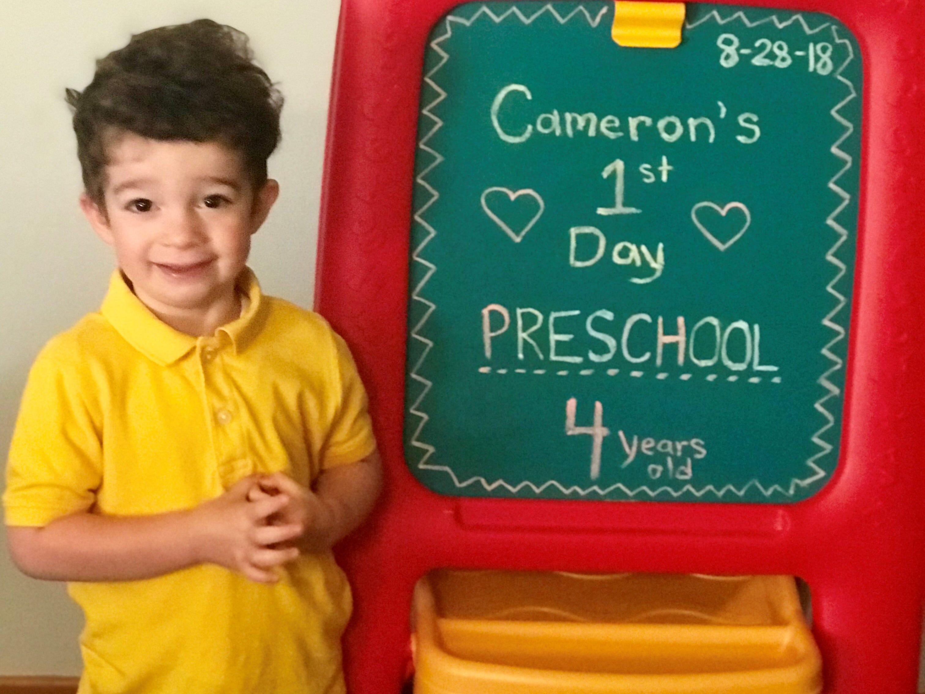 Cameron on his first day of preschool at Trinity Lutheran School in Marshfield.