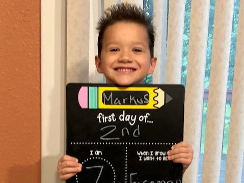 Markus Guzman on his first day of second grade at Washington Elementary School in Marshfield.