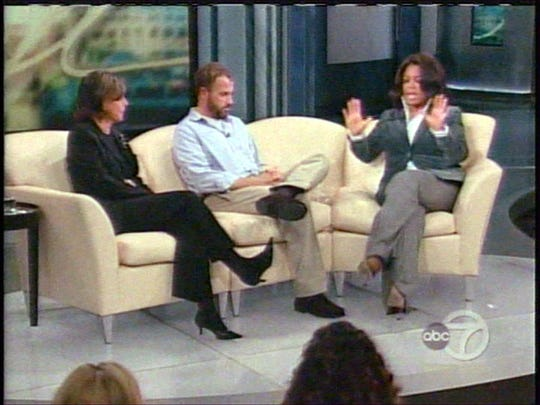 "(L-R) Nan Talese (Frey's editor), James Frey, author of ""A Million Little Pieces"" and Oprah Winfrey during the Jan. 26, 2006 taping of ""The Oprah Winfrey Show."""