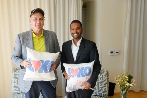 Comedian Norm MacDonald and business partner Vivek Jain tout their new video dating app, LOKO at the Mondrian Hotel in Los Angeles