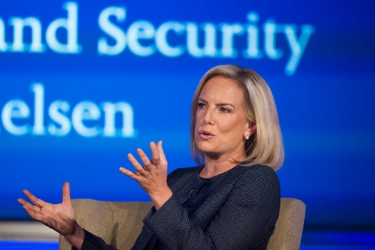 Secretary of Homeland Security Kirstjen Nielsen speaks to George Washington University's Center for Cyber and Homeland Security, in Washington, Wednesday, Sept. 5, 2018. The Trump administration is planning to circumvent a longstanding court agreement on how children are treated in immigration custody. That means families will be kept in detention longer. Homeland Security announced Thursday it would terminate the agreement which requires the release of immigrant children generally after 20 days. It would instead adopt regulations that administration officials say will provide care of minors, but allow changes to deter migrants illegally crossing the border.  (AP Photo/Cliff Owen) ORG XMIT: WX102