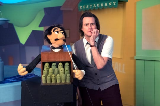 Children's show host Jeff Pickles (Jim Carrey), right, collaborates with Maestro Pimento Fermata and the Pickle Nickel Choir in Showtime's 'Kidding.'