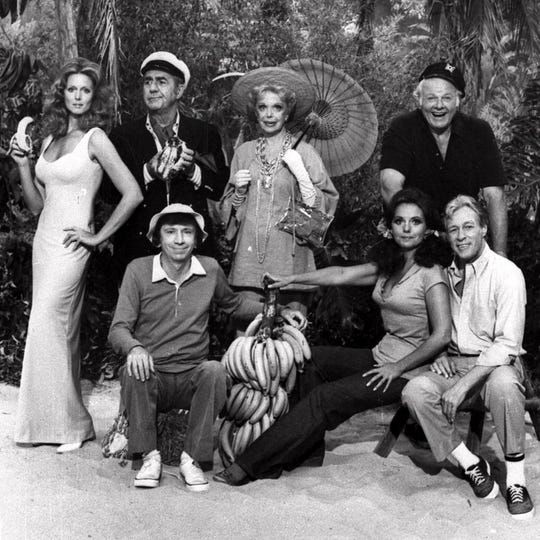 "The cast of ""Rescue from Gilligan's Island"" is shown in this 1978 photo. Front row from left are Bob Denver, Dawn Wells and Russell Johnson. Back row from left are Judith Baldwin, Jim Backus, Natalie Schafer and Alan Hale Jr."