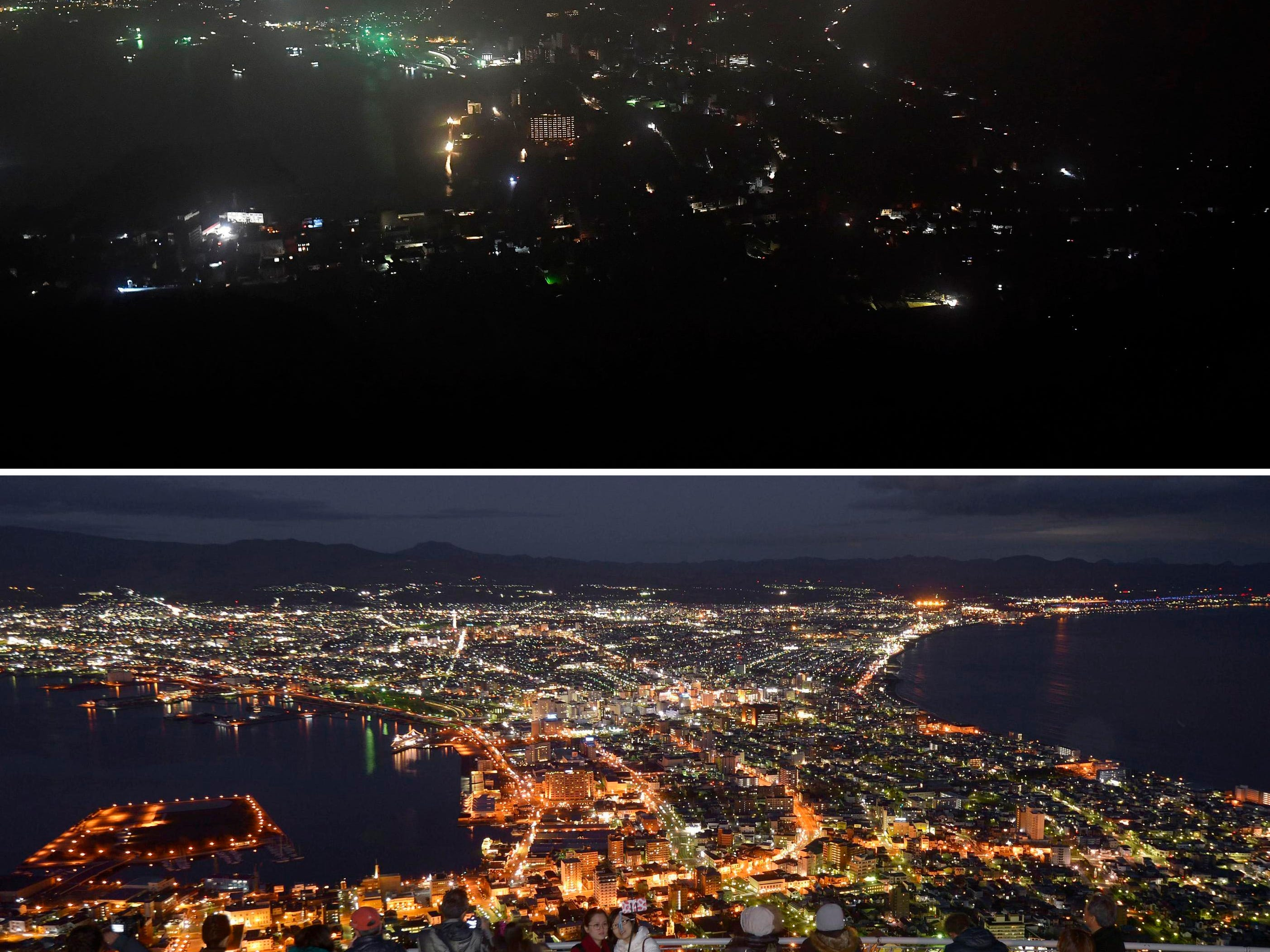 This combination of photos shows Hakodate city during a blackout following a powerful earthquake on Thursday, Sept. 6, 2018, top, and the city with lights on in November, 2015.