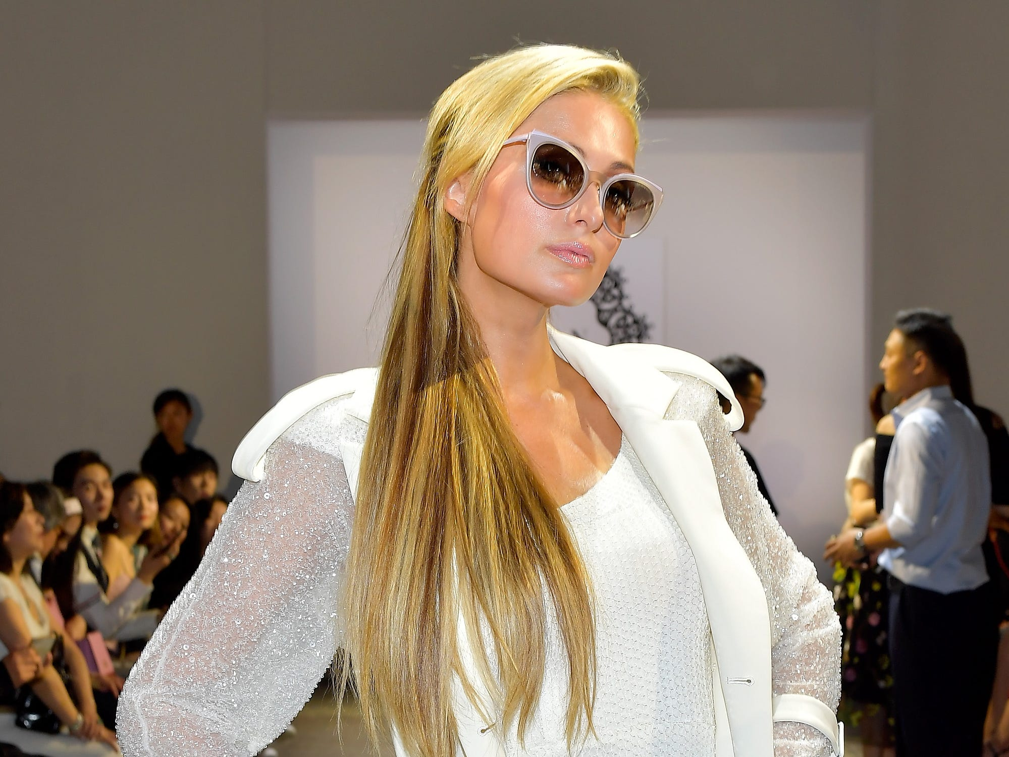 Paris Hilton attends the Lan Yu front row during New York Fashion Week: The Shows at Industria Studios on September 6, 2018 in New York City.  (Photo by Roy Rochlin/Getty Images for NYFW: The Shows) ORG XMIT: 775215618 ORIG FILE ID: 1027913528