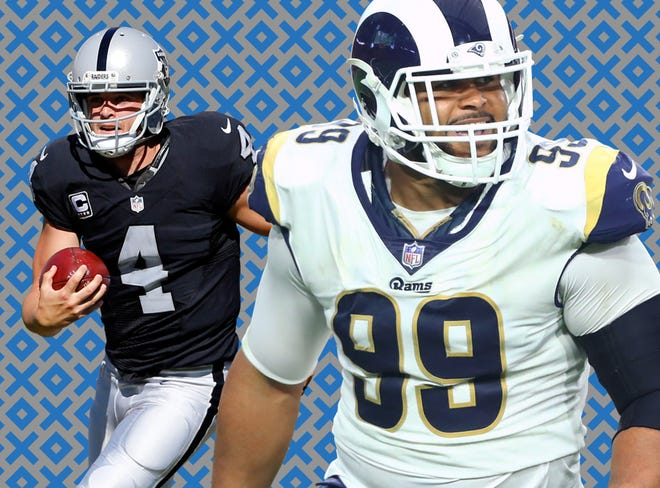 Derek Carr's Raiders will host Aaron Donald (99) and the Rams on Monday night.