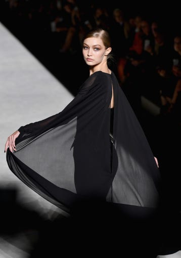 NEW YORK, NY - SEPTEMBER 05: Gigi Hadid walks the runway at the Tom Ford fashion show during New York Fashion Week at Park Avenue Armory on September 5, 2018 in New York City. (Photo by Slaven Vlasic/Getty Images) ORG XMIT: 775216226 ORIG FILE ID: 1027432338