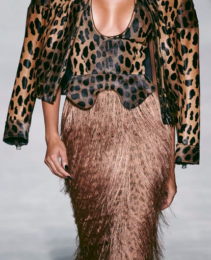 Tom Ford's collection featured lots of fringe, which can be seen in this close up of Joan Smalls.