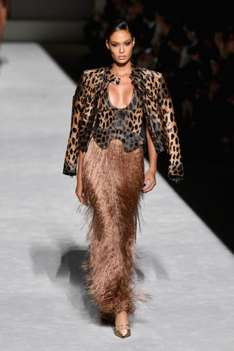 NEW YORK, NY - SEPTEMBER 05: Joan Smalls walks the runway at the Tom Ford fashion show during New York Fashion Week at Park Avenue Armory on September 5, 2018 in New York City. (Photo by Slaven Vlasic/Getty Images) ORG XMIT: 775216226 ORIG FILE ID: 1027432364