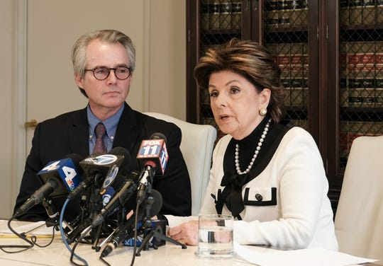 Gloria Allred at press conference on Sept. 6, 2018, with client Ken Fox, who is suing Redmond O'Neal for allegedly beating him up and calling him a gay slur in an unprovoked attack in May 2018.