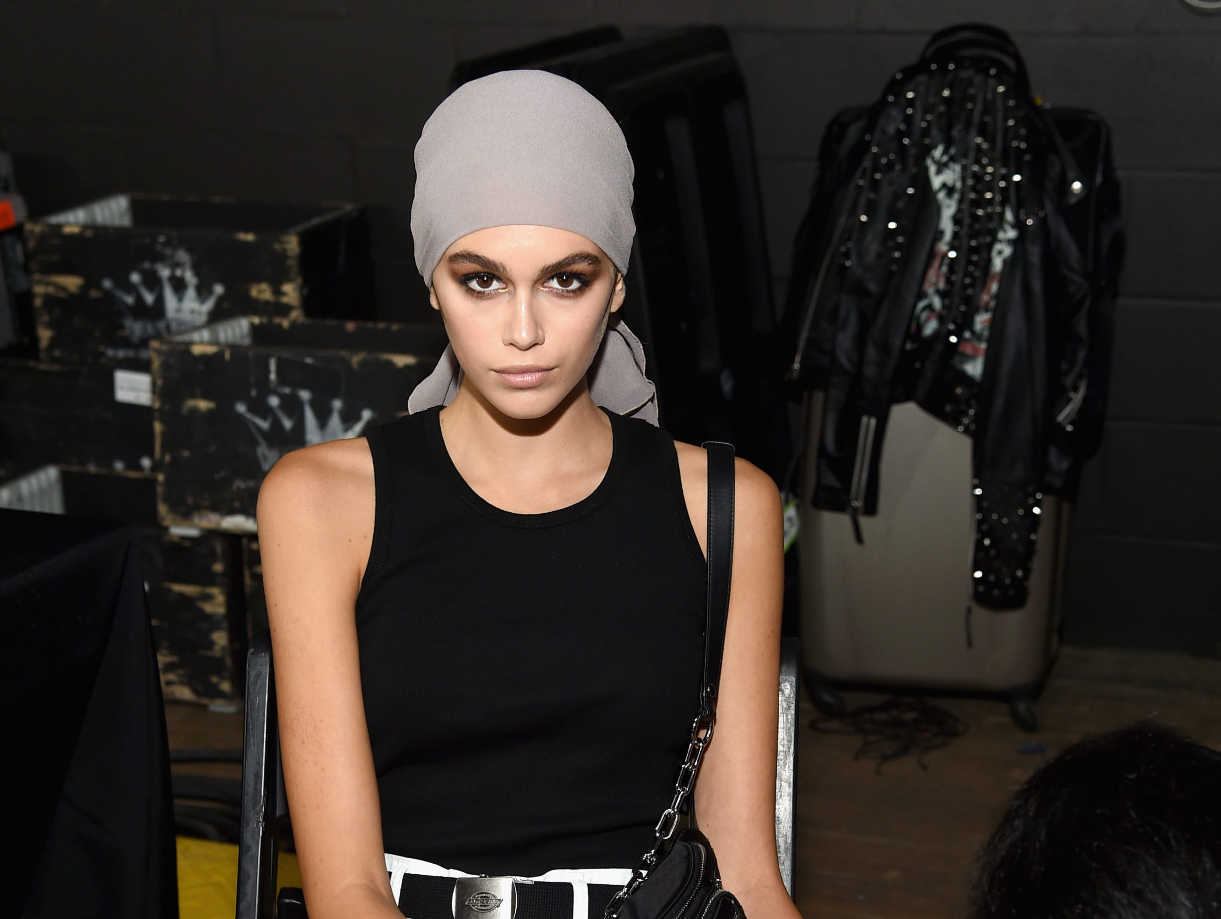 NEW YORK, NY - SEPTEMBER 05:  Kaia Gerber poses backstage at the Tom Ford fashion show during New York Fashion Week at Park Avenue Armory on September 5, 2018 in New York City.  (Photo by Jamie McCarthy/Getty Images) ORG XMIT: 775216224 ORIG FILE ID: 1027412318
