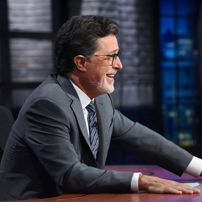 """Late Show"" host Stephen Colbert has some facial hair and jokes about a Trump-focused op-ed."