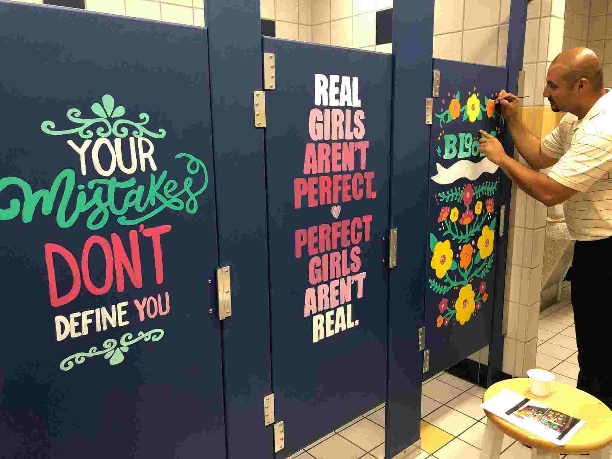 Teachers Paint Positive Messages On Bathroom Stalls