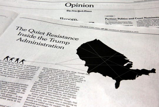 The anonymous op-ed in The New York Times on Sept. 6, 2018.