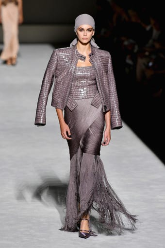NEW YORK, NY - SEPTEMBER 05: Kaia Gerber walks the runway at the Tom Ford fashion show during New York Fashion Week at Park Avenue Armory on September 5, 2018 in New York City. (Photo by Slaven Vlasic/Getty Images) ORG XMIT: 775216226 ORIG FILE ID: 1027432370