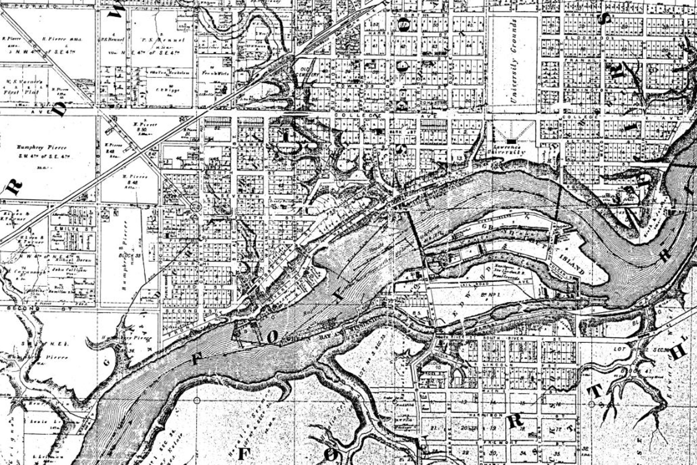 Various Fox River tributaries are depicted in this 1872 map of Appleton. The most prominent was the Mill Creek ravine in the downtown.