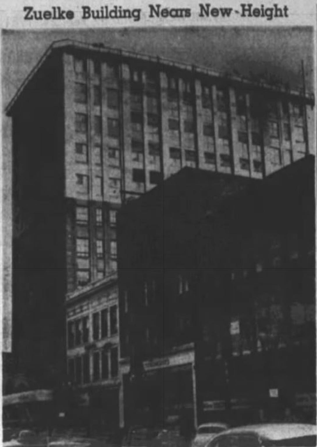This photo from The Post-Crescent in 1951 shows Zuelke building in downtown Appleton after the construction of five additional floors.