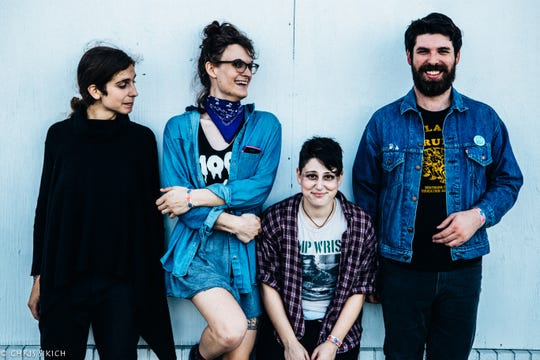 """Mal Blum, third from left, pictured with their band, last released """"You Look a Lot Like Me"""" in 2015 on Don Giovanni Records."""