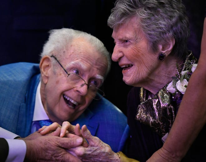 Robert Barnes smiles at Dr. Virginia Connally during the James B. Simmons Dinner honoring her Thursday evening at the Abilene Convention Center. Hundreds gathered to celebrate the life of the retired 105-year-old physician.