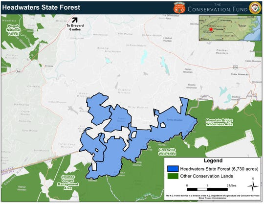 The newly established Headwaters State Forest, shown in blue, covers 6,730 acres in Transylvania County.