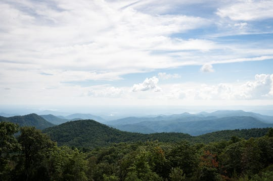 The view into South Carolina from Sassafras Mountain which sits on the border of North and South Carolina with an elevation of 3,553 feet.
