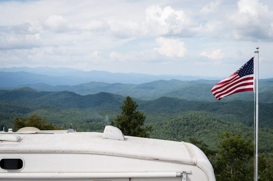 The view from Sassafras Mountain which sits on the border of North and South Carolina with an elevation of 3,553 feet. The newly-opened Headwaters State Forest can be seen in the distance to the right.