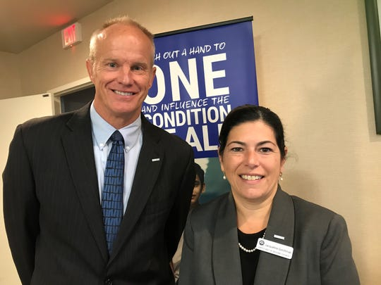 Jacqueline Gerchman, United Way of Broome County executive director, right, with Binghamton University president and United Way campaign chair, Harvey Stenger.