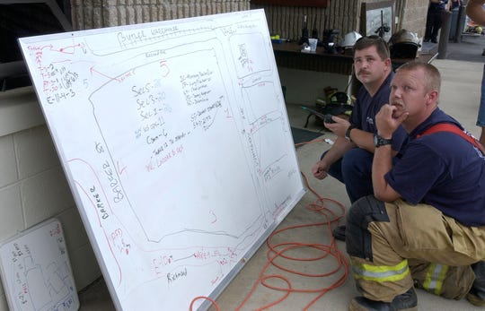 Swannanoa Fire Department Deputy Chief Larry Pierson (r) and Captain Dennis Gregory look up at new smoke coming from a building at Beacon Manufacturing in 2003. The map they are using tells them which fire departments, and how many firefighters they have at work. The historic blanket plant was destroyed by fire Wednesday.