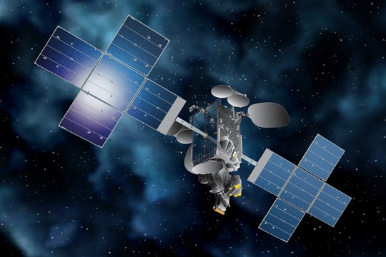 Artist rendering of Canadian satellite operator Telesat's Telstar 18 Vantage communications satellite in orbit.