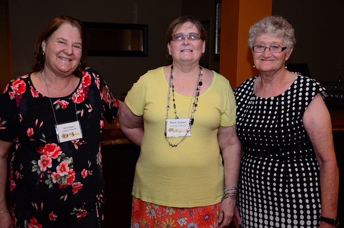 Sorority sisters Sharon Daught, Karen Santiago, and Jenny Silva were on hand during A Quilt of Friendship luncheon held Saturday at The Tides Restaurant.