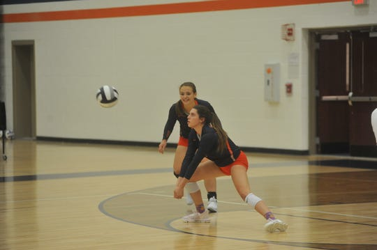 Galion's Jaden Ivy receives a serve against Shelby.