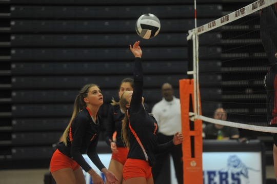 Galion's Kayla Hardy hits a ball over the net against Shelby.